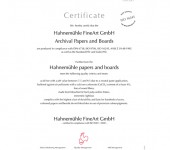 Hahnemuhle certifikat